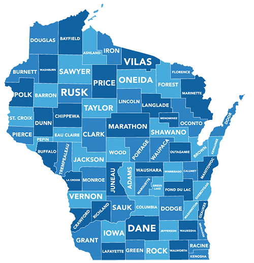 Map of Wisconsin showing job center locations